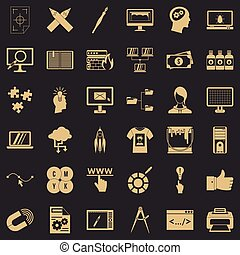 Web designer icons set, simple style - Web designer icons...