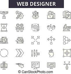 Web designer line icons, signs, vector set, linear concept,...