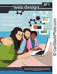Web Designer Team Work Using Laptop Creative Process