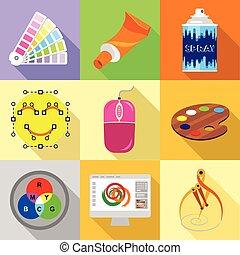 Web designer tools icons set, flat style - Web designer...