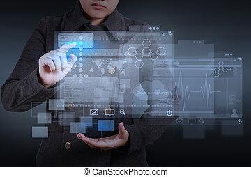 web designer working on modern computer