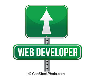 web developer road sign illustration design