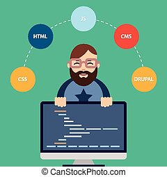 Web developer - Vector Flat Illustration of Male Computer ...