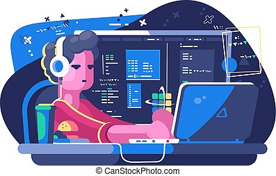 Web developer working on laptop