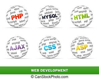 3D Sphere Web development set on white background.