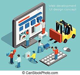 Web development and UI design vector concept in flat 3d...