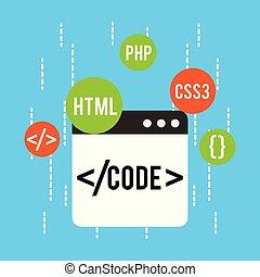 web development code html css php vector illustration