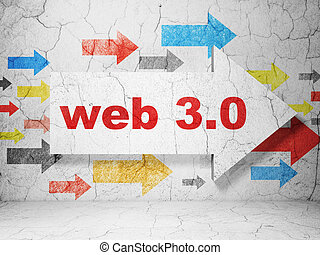 Web development concept: arrow with Web 3.0 on grunge wall background
