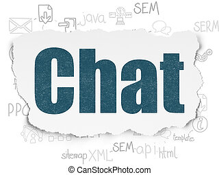 Web development concept: Chat on Torn Paper background
