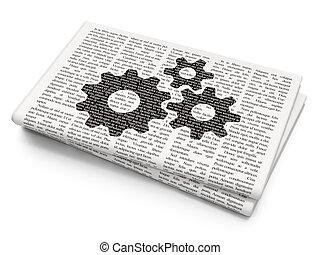 Web development concept: Gears on Newspaper background