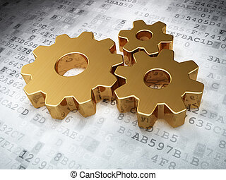 Web development concept: Golden Gears on digital background