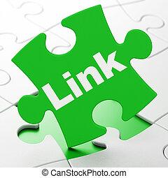Web development concept: Link on puzzle background