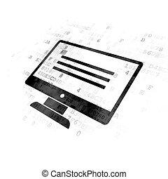 Web development concept: Monitor on Digital background