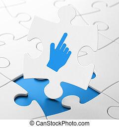 Web development concept: Mouse Cursor on puzzle background