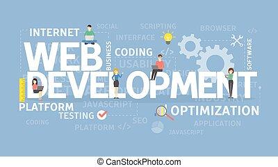 Web development concept. Optimization and platform, internet...