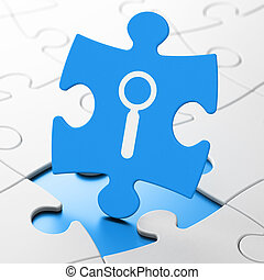 Web development concept: Search on puzzle background