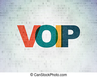 Web development concept: VOIP on Digital Paper background