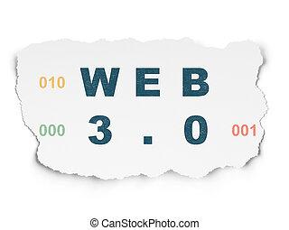 Web development concept: Web 3.0 on Torn Paper background