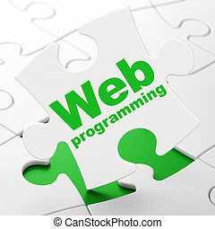 Web development concept: Web Programming on puzzle background