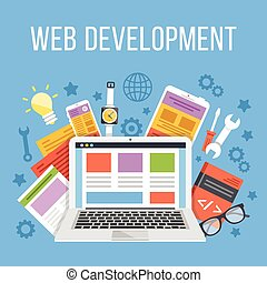 Web development flat illustration
