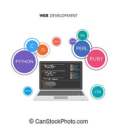 Web development infographic. Programming and coding concept. Vector illustration