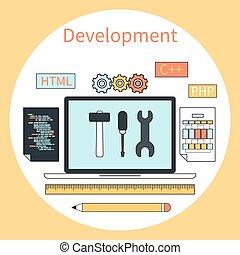 Web development instruments concept