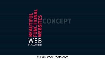 Web Development. Kinetic Typography. Word Cloud Text Intro