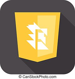 web development shield yellow abstract sign isolated icon on grey badge with long shadow