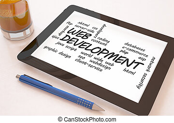 Web Development - text concept on a mobile tablet computer...