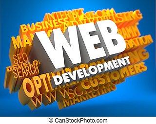 web, development., wordcloud, concept.