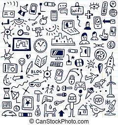 web, devices - doodles set