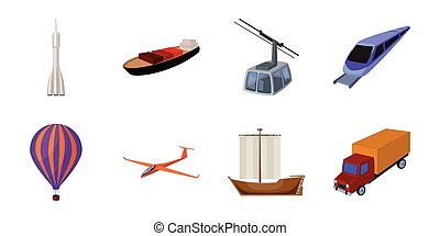 web, differente, set, illustration., icone, automobile, simbolo, collezione, vettore, trasporto, nave, design., tipi, casato