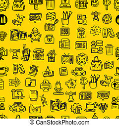 web, disegnare, icone, modello, seamless, mano