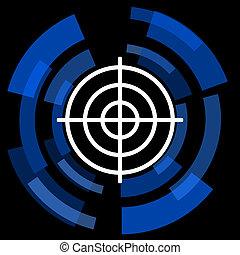 web, doel, eenvoudig, zwarte achtergrond, pictogram