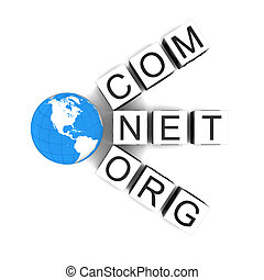 Web domains - Concept of web domains with globe isolated on...
