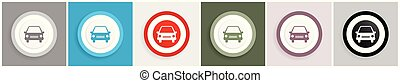 web, domande, set, automobile, mobile, vettore, disegno, 6, illustrazioni, opzioni, icona