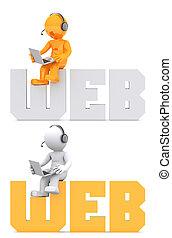 web, dominio, seduta, segno, carattere,  3D