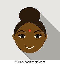 web, donna, indiano, semplice, illustrazione, vettore, icon., icona