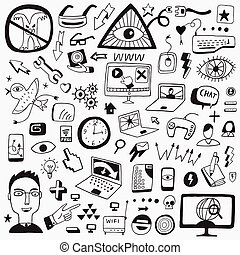 web doodles icons