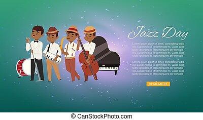 web, double-bass, illustration., cantante, jazz, cartone animato, bandiera, giocatore, banda, caratteri, musicisti, sassofonista, vettore