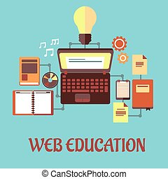Web education flat concept - Web Education or e-learning...