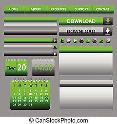 web, elemente, design, graue , grün