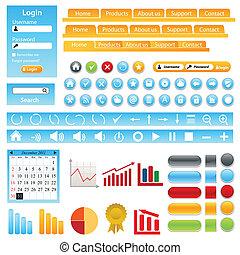 web, elemente, design, standort