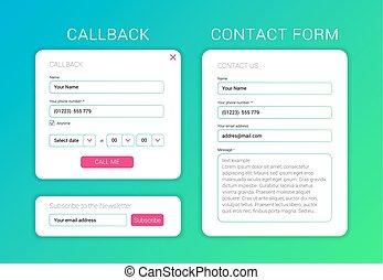 web, elemente, form, wohnung, unterzeichnen, form, callback...