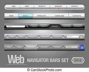 web, elemente, navigation stab, satz