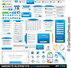 web, elementi, collezione, 2, disegno, estremo