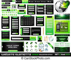 web, elementi, collezione, disegno, blackgreen, estremo