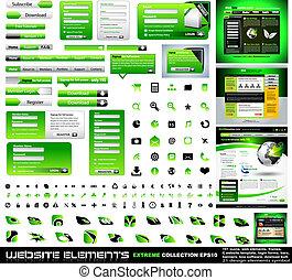 web, elementi, collezione, disegno, verde, estremo