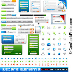 web, elementi, disegno, collezione, estremo