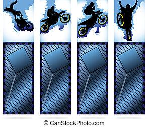 web, elementi, silhouette, metalic, motocicletta, fondo